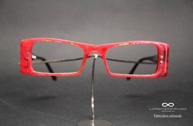 Petite monture rectangulaire rouge - Rivets