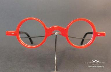 Petite monture rouge en acétate style rétro - Tenons déportés