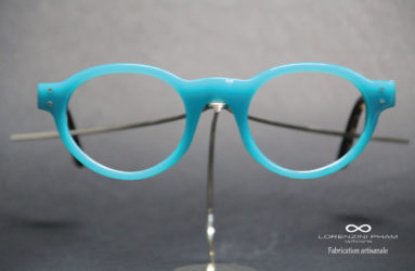 Monture brillante ronde en acétate bleu turquoise
