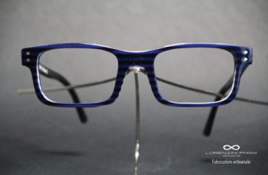 Monture rectangulaire marinière bleu et noir